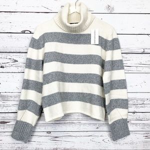 CALVIN KLEIN JEANS cream gray striped sweater NWT